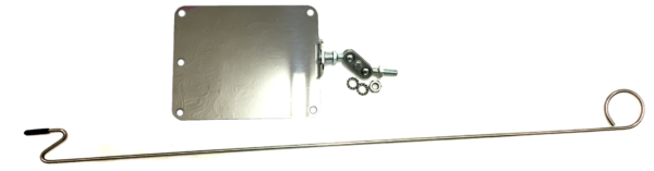 Long length of metal rod with loop on one end and a hook shape on the other and a stainless steel mirror with a ball joint