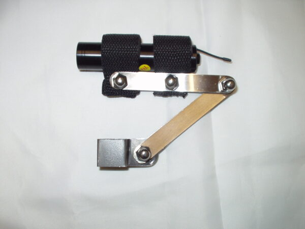 Silver metal camera bracket with a black cylindrical camera attached