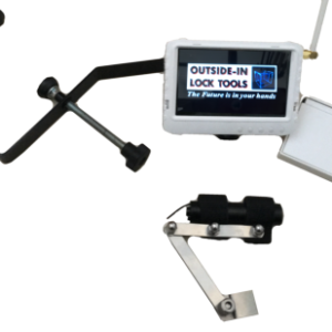 Photo of Outside-In Lock Tools Monitor with logo on camera bracket and camera
