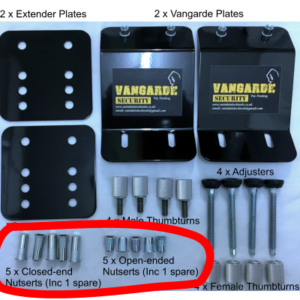 Black Metal Vangarde Plates and associated fixings and knobs
