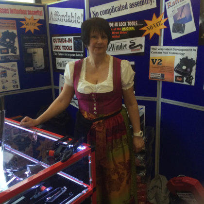 Wendy stands behind trade counter at Locksmiths Show