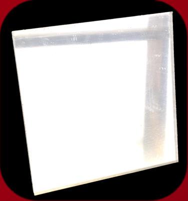 Silver square acrylic mirror at an oblique angle