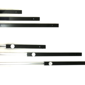 Six black and silver metal lengths with silver knobs laid out horizontally