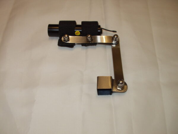 Metal Camera Bracket with black cylindrical camera attached