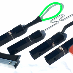 Several brightly-coloured letterbox tool attachements